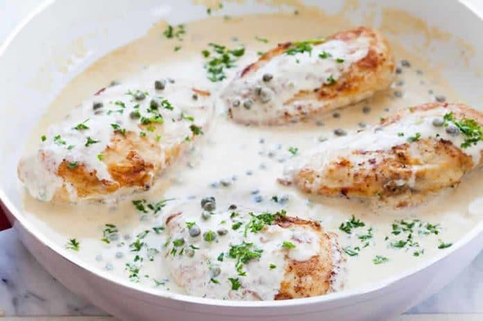 Poitrines de poulet à la sauce moutarde