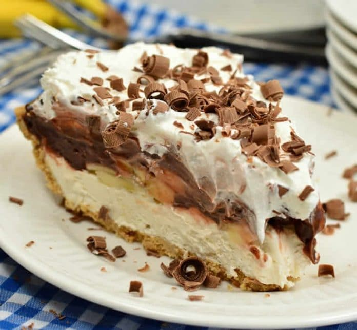 Tarte à la crème chocolat et aux bananes