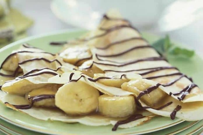 Crêpes au chocolat et bananes