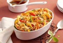 Pâtes aux légumes au four