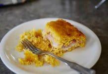 Riz au four avec jambon et fromage