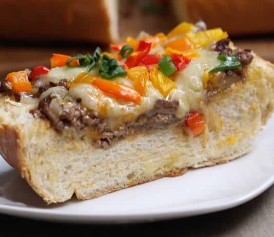 Sandwich à la viande hachée et poivron