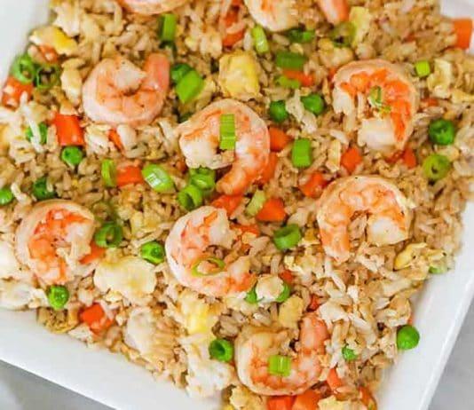 Riz aux crevettes et légumes