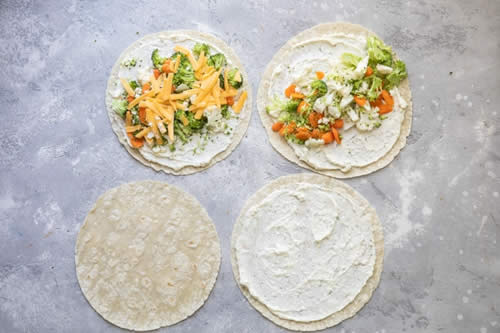 Apéro rouleaux de tortilla aux légumes 1