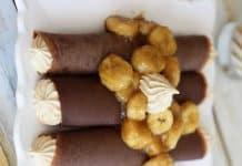 Crêpes au chocolat et bananes caramélisées