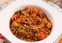 Lentilles au bacon carottes et tomates