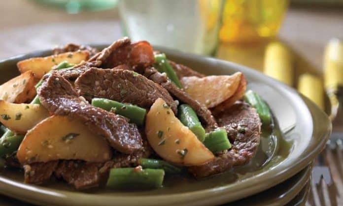 Steaks aux pommes de terre et haricots verts au cookeo