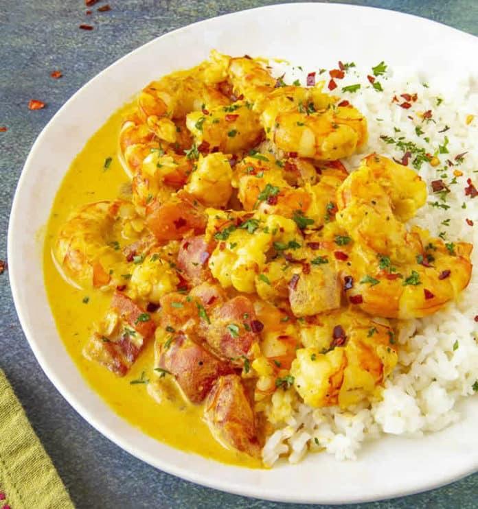Crevettes à la crème curry au cookeo