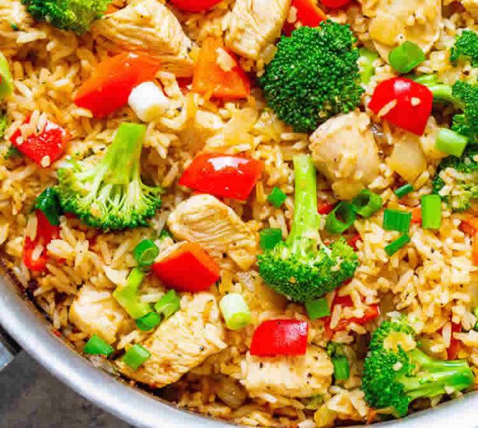 Poulet au riz et brocoli