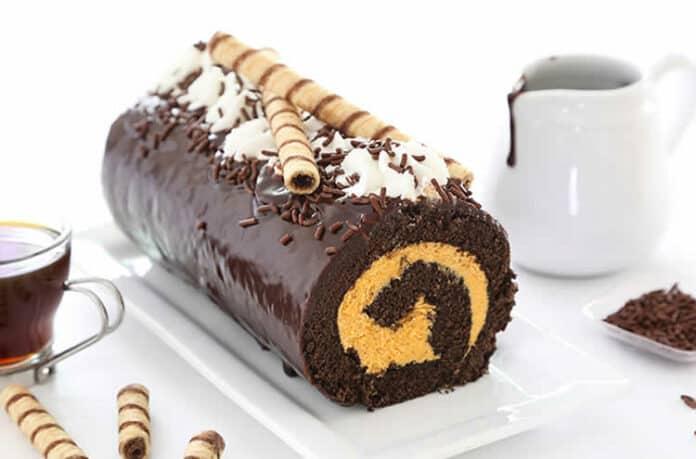 Bûche au chocolat et mangue