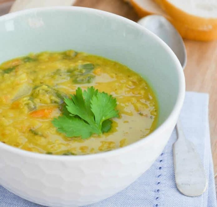 Soupe de carottes épinards et lentilles