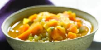Soupe patates douces et poireaux