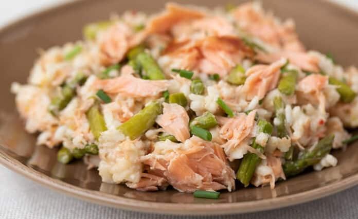 Risotto saumon asperges au cookeo