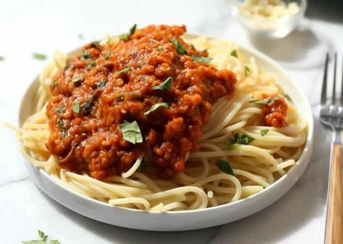 Spaghettis à la bolognaise aux lentilles au cookeo
