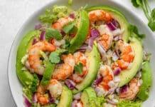 Salade avocat aux crevettes