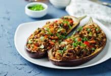Aubergines farcies au viande hachée et quinoa