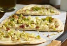 Pizza de poireaux et lardons